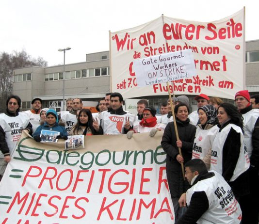 A delegation of the sacked Heathrow Gate Gourmet workers visiting the picket line of the striking Gate Gourmet workers in Dusseldorf, Germany during their strike in February this year