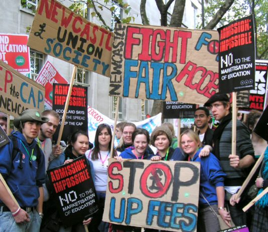 Students marching in London on October 29  demand the abolition of fees