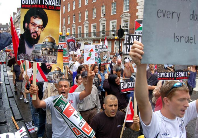 London demonstration last July showing support for Hezbollah