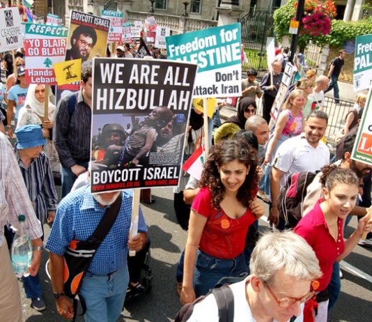 Demonstrators in London in July showing their support for Hezbollah