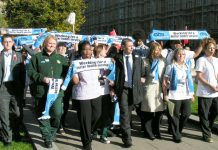 UNISON general secretary DAVE PRENTIS (centre)  at the NHS Together lobby of parliament on November 1st