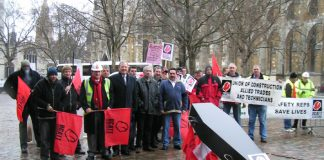 Construction workers lobbying parliament when the private members Bill on corporate manslaughter was introduced on February 24 last year – the Bill fell as not enough MPs bothered to turn up to vote