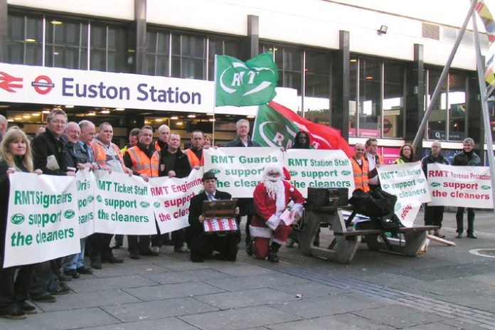 Yesterday morning's demonstration outside the headquarters of Network Rail at Euston