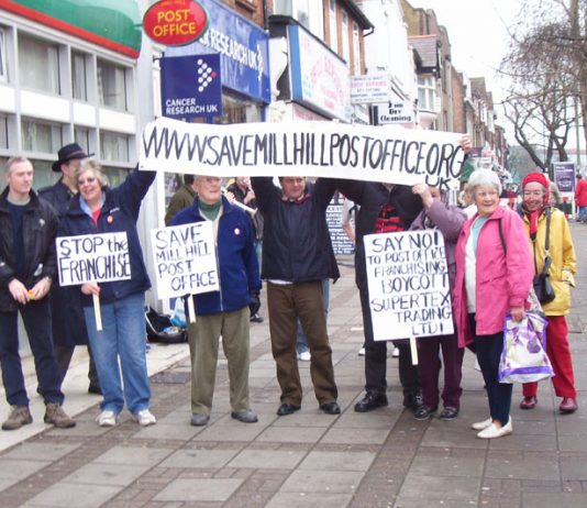 Demonstration outside Mill Hill Post Office in north London last February