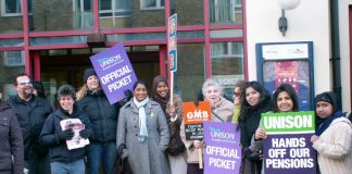 UNISON and GMB members taking part in a one-day strike of over a million workers who face having to bring down the Blair government if they are to keep their final salary pensions