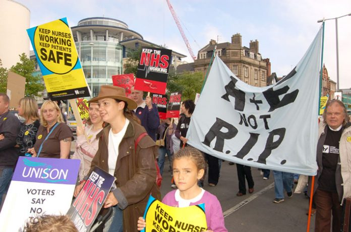 Marchers on the 5,000-strong Nottingham demonstration against NHS cuts determined to keep their A&E services