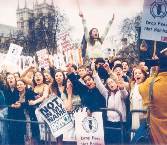 On 17th March 2003 thousands of youth left their classes to demonstrate outside Parliament against the imminent invasion of Iraq