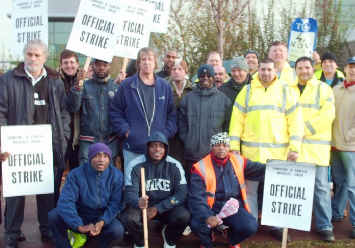 Strong TGWU picket line of DHL Exel workers who deliver from the Iceland distribution depot in Enfield  yesterday and had to face harassment, threats and intimidation from gangs of security guards