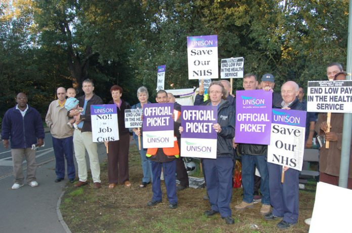 UNISON members at Whipps Cross hospital on August 30 during a successful struggle for pay parity  – now fighting plans to close the hospital's A&E department