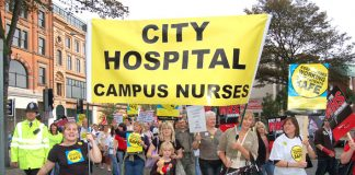 Nurses determined to save their hospital marching in Nottingham last September