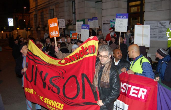 A section of last Wednesday night's over 300-strong lobby of Camden council