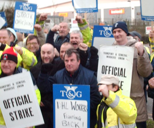 TGWU DHL pickets outside Iceland distribution depot in Enfield are determined to win their struggle