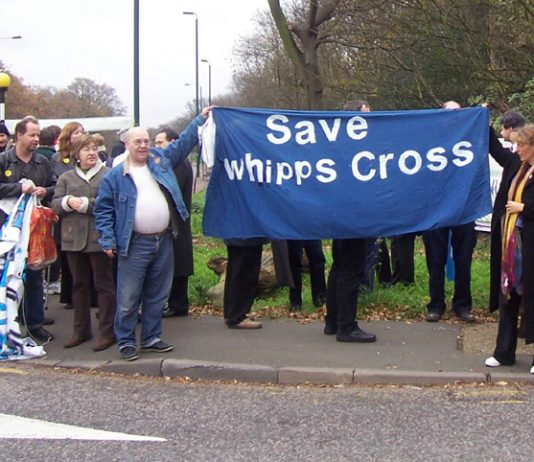 A midday vigil at Whipps Cross Hospital yesterday  campaigning against all cuts and closures in the NHS