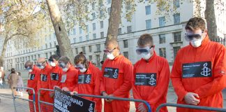 Amnesty protesters as 'Guantanamo prisoners' opposite Downing Street