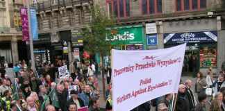 Polish workers' banner on the 100,000-strong march in Dublin last December in support of the Irish Ferries workers' occupation against cheap labour crews