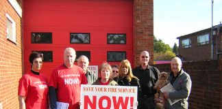 Campaigners outside Radlett fire station determined to prevent its closure
