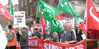 'Scrap the PPP' placard on the RMT 'Rail Against Privatisation' march to Trafalgar Square in April 2005