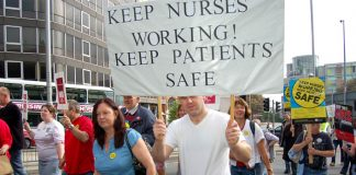 Nurses determined to defend their jobs marching on the 'NHS Together' demonstration in Nottingham last September