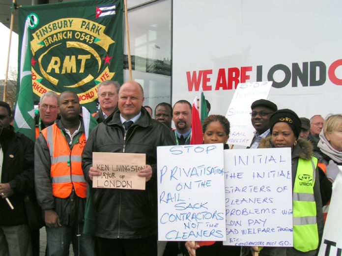 BOB CROW (centre) and a group of RMT cleaners lobbying the City Hall to demand that Mayor Livingstone refuses to accept ISS sackings