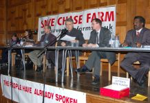 Platform of Saturday's packed 'Save Chase Farm' meeting, (L-R) consultant ANNA ATHOW, Maternity Liaison Committee member Gail McCONNELL, Ambulanceman Jonathan FOX, chair STEPHEN ARMSTRONG, Save Chase Farm councillor KIERAN McGREGOR, local GP Dr NICHOLAS P