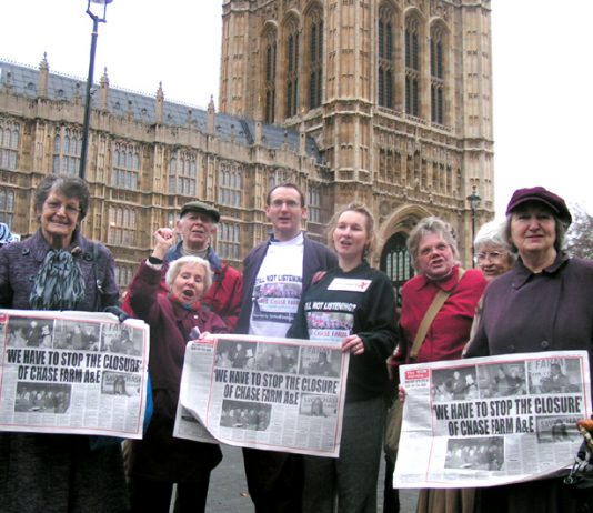 'Save Chase Farm' councillors KEIRAN McGREGOR and KATE WILKINSON (wearing T-shirts) with fellow campaigners lobbying Parliament yesterday