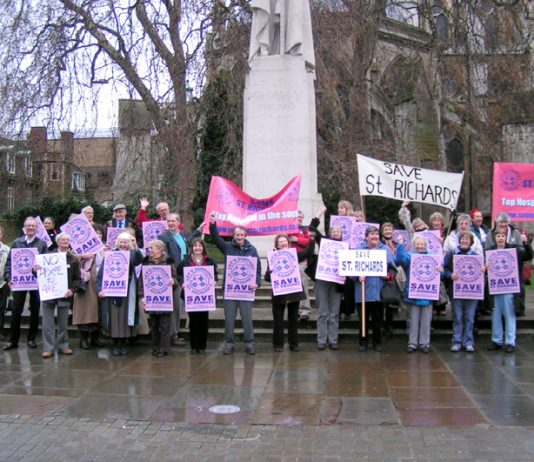 Demonstrators in Westminster on Tuesday fighting to prevent the closure of St Richards A&E