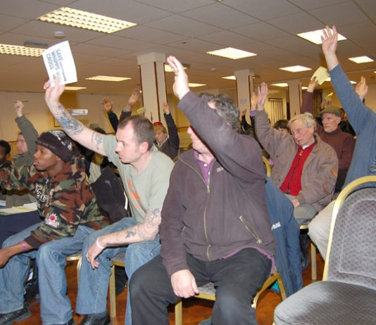 Delegates voted unanimously for the resolution at the first meeting of the North East London Council of Action