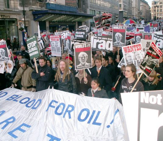 Demonstration in London on March 18 last year – the third anniversary of the launch of the war on Iraq