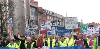 100,000-strong demonstration through Dublin on December 12 2005 in support of the Irish Ferries workers' occupation
