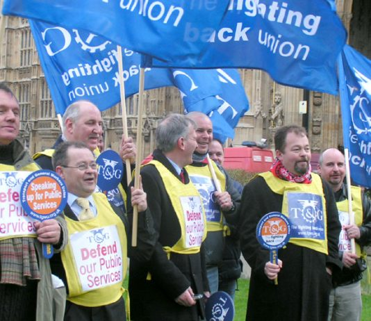Members of the Transport and General Workers Union issued a call to 'Defend our Public Services' outside parliament yesterday
