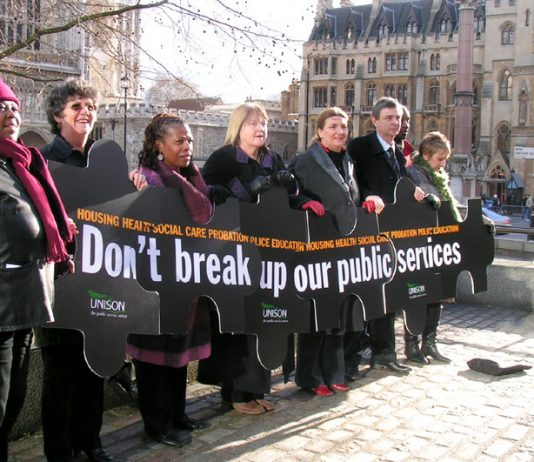 UNISON staged a photocall to protest at the break-up of public services by the Labour government (with UNISON General Secretary Dave Prentis third from the right)