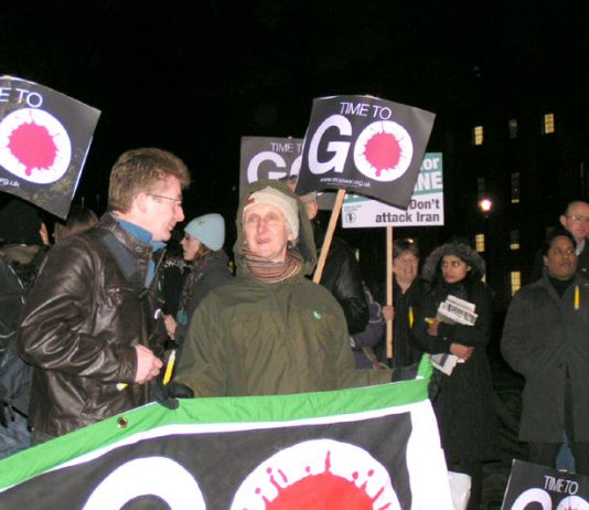 Demonstrators outside the House of Commons yesterday evening