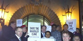 Demonstrators on the steps of Peckham Town Hall on Wednesday night said there was mass support across the community to keep Maudsley Emergency Clinic open