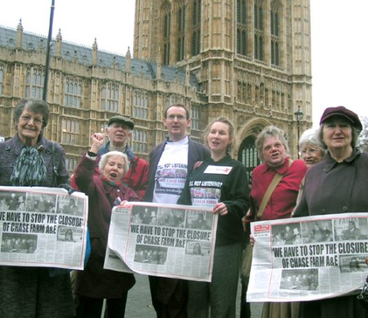 Save Chase Farm campaigners join workers from around the country to lobby MPs against hospital closures
