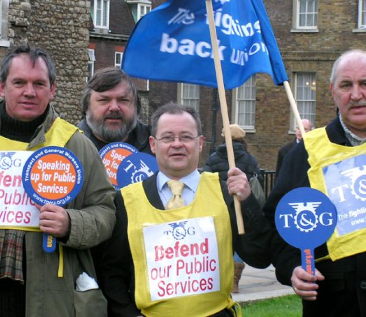 TGWU members at this month's 'Defend our Public Services' rally