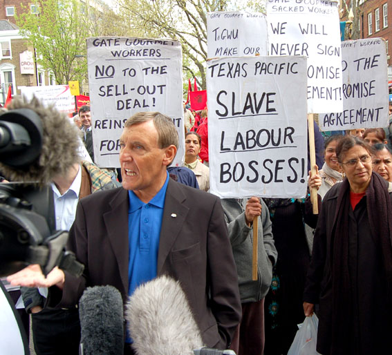TGWU leader TONY WOODLEY was picketed by locked-out Gate Gourmet workers on May 1st