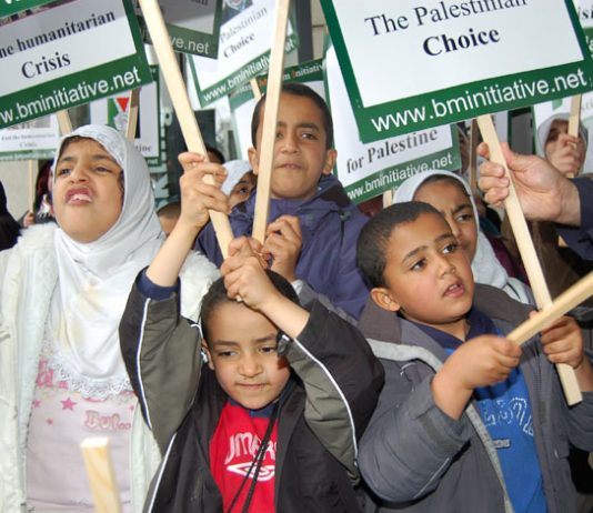 Palestinian children on a demonstration in London last May demanding the right of return for all Palestinian refugees