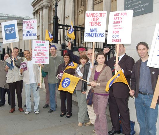 PCS pickets during their recent strike action at at the National Gallery in Trafalgar Square