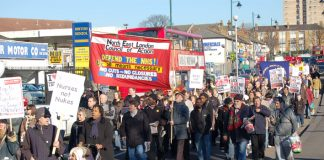 Many marchers joined in with North East London Council of Action delegation's demand 'Defend our hospitals – occupy now!'