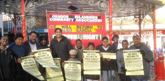 Chagos Islanders campaigning in Crawley last Saturday for today's picket of the Court of Appeal and next Saturday's demonstration in Crawley