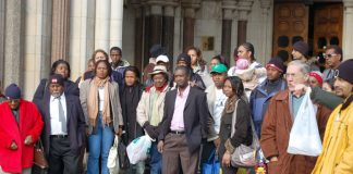 The Chagos Islanders outside court in The Strand yesterday after the British government began its appeal against their right to return home.