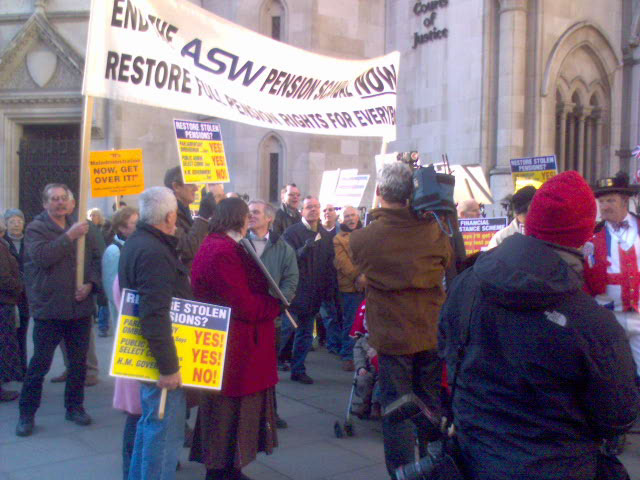 ASW workers who have lost their pensions after the company went bankrupt outside the High Court on Monday