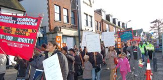 The 400-strong march of Chagos Islanders and supporters marching in Crawley on Saturday  to demand the right to return to their homeland