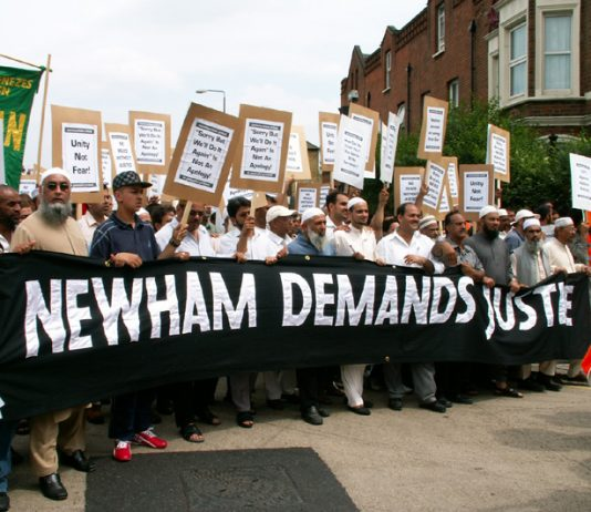 Newham residents demonstrate last June against the police anti-terror raid on their community
