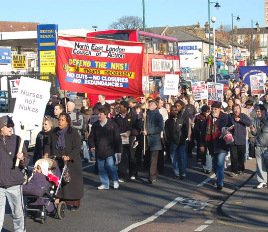 North East London Council of Action banner on the February 3rd demonstration to defend Whipps Cross Hospital