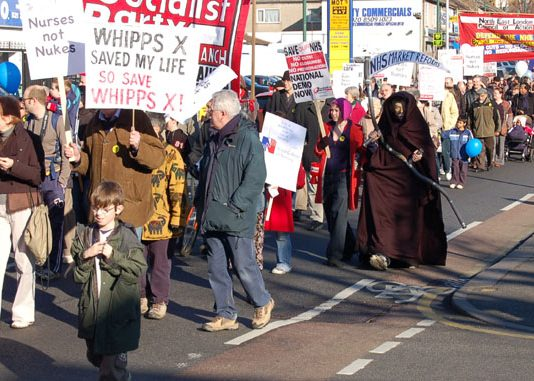 A section of the 2,000-strong march on February 3rd to keep open Whipps Cross Hospital