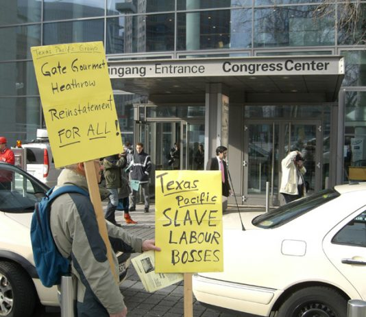 Supporters of the Gate Gourmet sacked workers picketing the venture capitalist summit in Frankfurt on Tuesday which was attended by the Texas Pacific boss