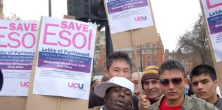Young English language students with 'Save Esol' placards said they would be forced off courses if charges are imposed this autumn