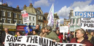 The front of Saturday's 500-strong march to defend the Maudsley Hospital in Camberwell