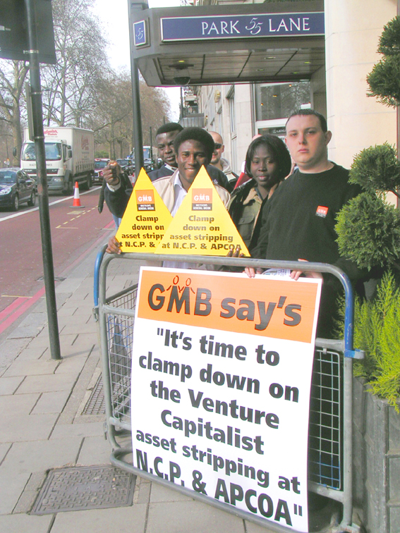 GMB members working for NCP demanding union recognition yesterday outside the Dorchester Hotel in Park Lane